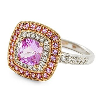 Authentic Lorenzo .925 Sterling Silver 14k White & Rose Gold Plated Pink Sapphire & White Sapphire Ring Size 7