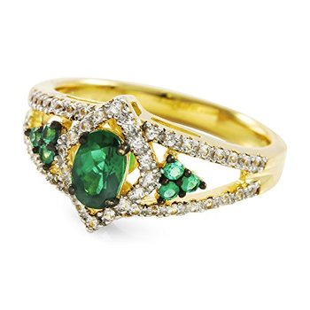 Authentic Lorenzo .925 Sterling Silver 14k Yellow Gold Plated Emerald and White Sapphire Women's Ring, Size 7