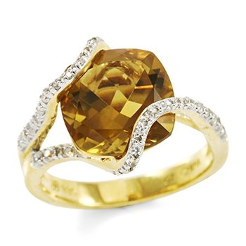 Authentic Lorenzo .925 Sterling Silver 14k Yellow Gold Plated White Cubic Zirconia & Cushion Cut Alexite Women's Ring Size 6