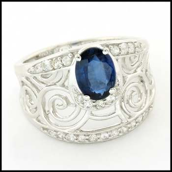 Authentic Lorenzo .925 Sterling Silver, 1.64ctw Genuine Kyanite & 0.38ctw White Sapphire Ring sz 6