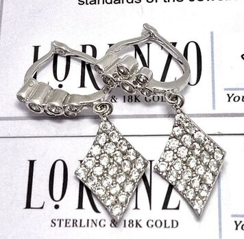 Authentic Lorenzo .925 Sterling Silver, 2.00ctw White Diamonique Earrings