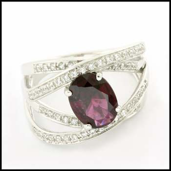 Authentic Lorenzo .925 Sterling Silver 2.15ctw Genuine Brazilian Garnet & 0.31ctw Created White Sapphire Ring Size 7