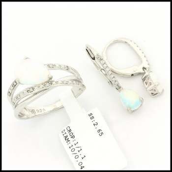 Authentic Lorenzo .925 Sterling Silver, 2.25ctw Genuine Opal & 0.04ctw Genuine Diamond Set of Ring and Earrings