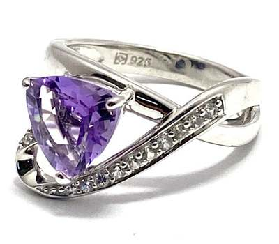 Authentic Lorenzo .925 Sterling Silver, 2.2ctw Amethyst & 0.18ctw White Sapphire Ring Size 7
