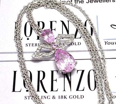 Authentic Lorenzo .925 Sterling Silver, 2.3ctw Pink & White Topaz Necklace