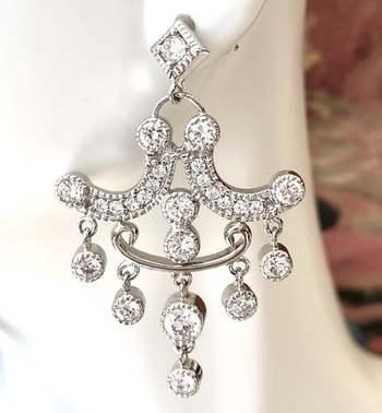 Authentic Lorenzo .925 Sterling Silver, 2.50ctw White Diamonique Earrings
