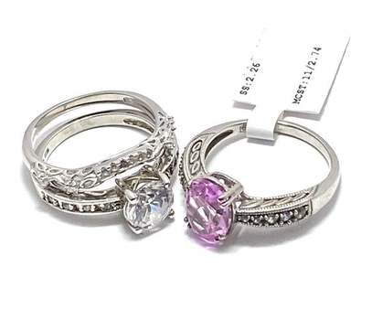 Authentic Lorenzo .925 Sterling Silver, 2.75ctw Pink Topaz & 3.0ctw White Diamonique Lot of 3 Rings