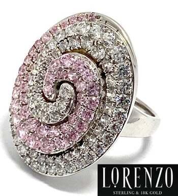 Authentic Lorenzo .925 Sterling Silver, 2.7ct Pink Zircon & 3.03ct White Quartz Ring Size 8