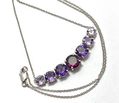 Authentic Lorenzo .925 Sterling Silver, 3.0ctw Garnet & 5.25ctw Amethyst Necklace