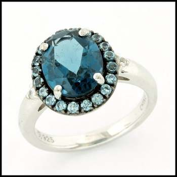 Authentic Lorenzo .925 Sterling Silver, 3.25ctw Genuine Licensed London Blue Topaz & 0.36ctw Blue & White Sapphire Ring sz 6