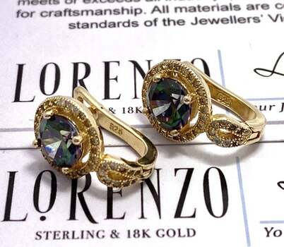 Authentic Lorenzo .925 Sterling Silver, 3.25ctw Mystic Topaz & 0.20ctw White Topaz Earrings