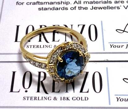 Authentic Lorenzo .925 Sterling Silver, 3.3ctw London Blue Topaz & 0.3ctw White Sapphire Ring Size 7.5