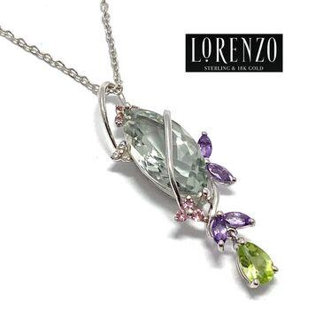 Authentic Lorenzo .925 Sterling Silver 3.6ct Genuine Green Amethyst, 0.021ct Genuine Diamond, 0.77ct Multicolor Stones Necklace