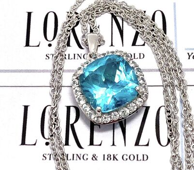 Authentic Lorenzo .925 Sterling Silver 3.98ctw Blue & White Topaz Necklace
