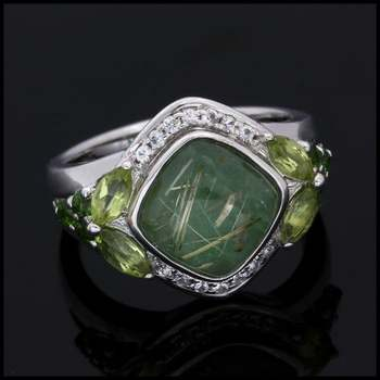 Authentic Lorenzo .925 Sterling Silver 4.07ctw Genuine Russian Jade & Peridot Ring Size 7