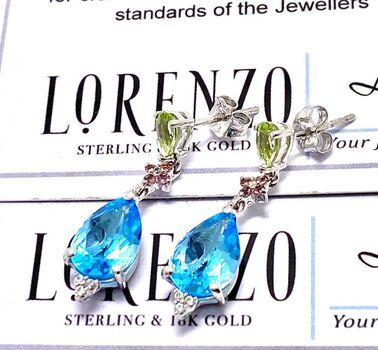 Authentic Lorenzo .925 Sterling Silver 5.12ct Genuine Blue Topaz, Peridot & Rhodolite Earrings