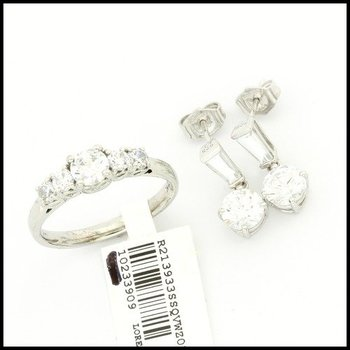 Authentic Lorenzo .925 Sterling Silver, 5.12ctw Genuine White Zirconia Set of Ring and Earrings