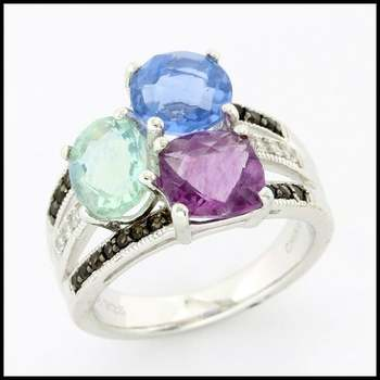 Authentic Lorenzo .925 Sterling Silver, 5.37ctw Multicolor Gemstones Ring sz 6