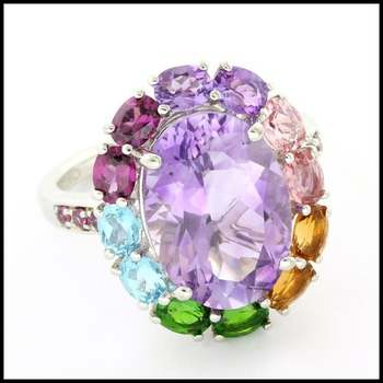 Authentic Lorenzo .925 Sterling Silver 5.4ctw Genuine Amethyst & 2.22ctw Multi-Color Gemstones Ring Size 7