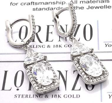 Authentic Lorenzo .925 Sterling Silver, 5.50ctw White Diamonique Earrings