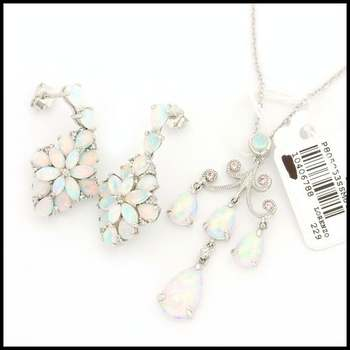 Authentic Lorenzo .925 Sterling Silver, 5.63ctw Genuine Opal & 0.06ctw Genuine Pink Sapphire Set of Earrings and Necklace