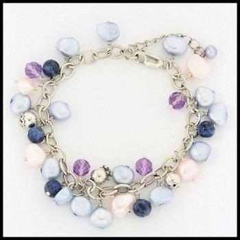 Authentic Lorenzo .925 Sterling Silver, 5-8mm Pearl, 7.99ctw Amethyst & Sapphire Bracelet