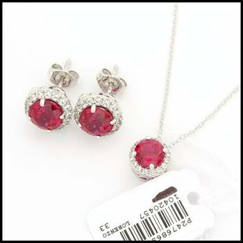 Authentic Lorenzo .925 Sterling Silver, 5.98ctw Ruby & 0.65ctw White Sapphire Set of Earrings and Necklace