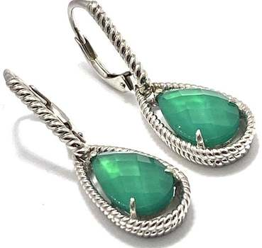 Authentic Lorenzo .925 Sterling Silver, 5.9ctw Dyed Green Agate Earrings