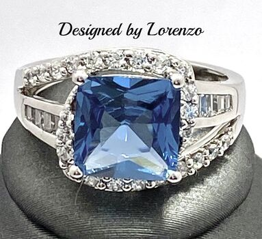 Authentic Lorenzo .925 Sterling Silver 6.00ctw Blue Topaz & 0.50ctw Cubic Zirconia Ring Size 7