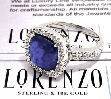Authentic Lorenzo .925 Sterling Silver, 6.15ctw Sapphire & 0.50ctw White Diamonique Ring Size 7