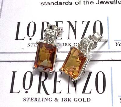 Authentic Lorenzo .925 Sterling Silver, 6.50ctw Azulum Topaz & 0.06ctw White Topaz Earrings