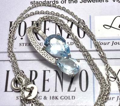 Authentic Lorenzo .925 Sterling Silver, 6.75ctw Aquamarine Necklace