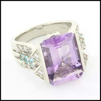 Authentic Lorenzo .925 Sterling Silver 6.7ctw Genuine Amethyst & 0.59ctw Blue & White Topaz Ring Size 5