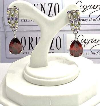Authentic Lorenzo .925 Sterling Silver, 7.50ctw Multi-Color Stone Earrings