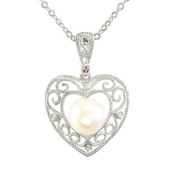 Authentic Lorenzo .925 Sterling Silver 7mm Pearl with Diamond & Amethyst Accent Necklace