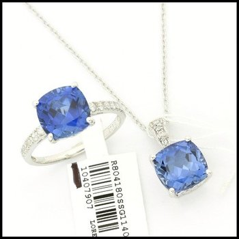 Authentic Lorenzo .925 Sterling Silver, 8.75ctw Sapphire & 0.22ctw White Sapphire Set of Ring and Necklace