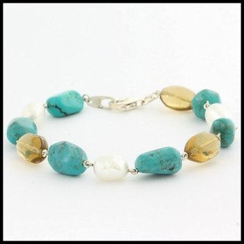 Authentic Lorenzo .925 Sterling Silver, 8mm Freshwater Pearl, Turquoise & Smoky Quartz Bracelet