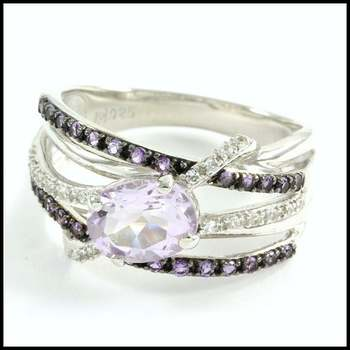 Authentic Lorenzo .925 Sterling Silver, Amethyst & Rose Amethyst & White Sapphire Ring Size 7.25