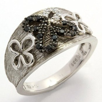 Authentic Lorenzo .925 Sterling Silver, Black & White Cubic Zirconia Ring sz 7