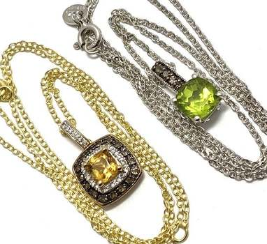 Authentic Lorenzo .925 Sterling Silver Citrine & Peridot Lot of 2 Necklace