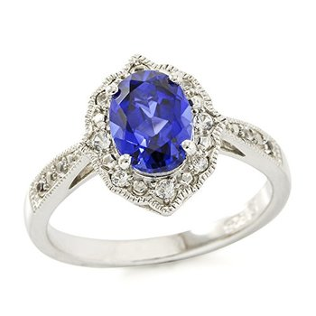 Authentic Lorenzo .925 Sterling Silver Created Oval Shape Blue & Round White Sapphire Ring Size 7