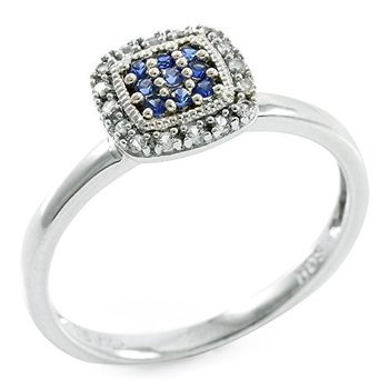 Authentic Lorenzo .925 Sterling Silver Created Round Brilliant Cut Blue & White Sapphire Ring Size 7