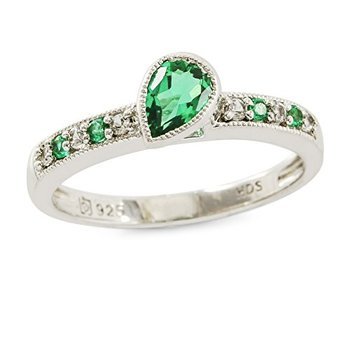 Authentic Lorenzo .925 Sterling Silver Created Round White Sapphire and Created Emerald Women's Ring, Size 7