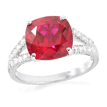 Authentic Lorenzo .925 Sterling Silver Cushion Cut Created Ruby and Round Brilliant Cut White Sapphire  Ring, Size 7