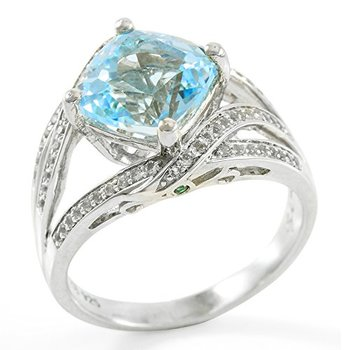 Authentic Lorenzo .925 Sterling Silver Cushion Cut Natural Sky Blue Topaz & Round Cut White Topaz Ring Size 7