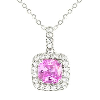 Authentic Lorenzo .925 Sterling Silver, Cushion Cut Pink Sapphire and White Sapphire Necklace