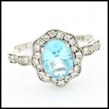 Authentic Lorenzo .925 Sterling Silver, Genuine Blue & White Topaz Ring sz 6.5