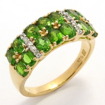 Authentic Lorenzo .925 Sterling Silver, Genuine Chrome Diopside & White Zircon Ring sz 7