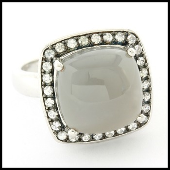 Authentic Lorenzo .925 Sterling Silver Genuine Grey Moonstone & White Topaz Ring Size 6.5