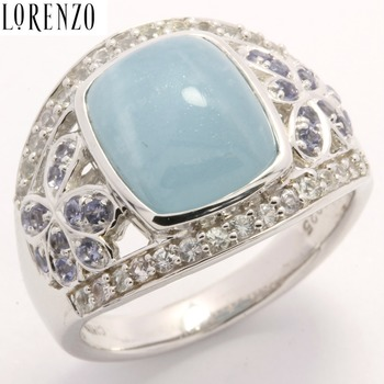 Authentic Lorenzo .925 Sterling Silver Genuine Milky Aquamarine Ring Size 7